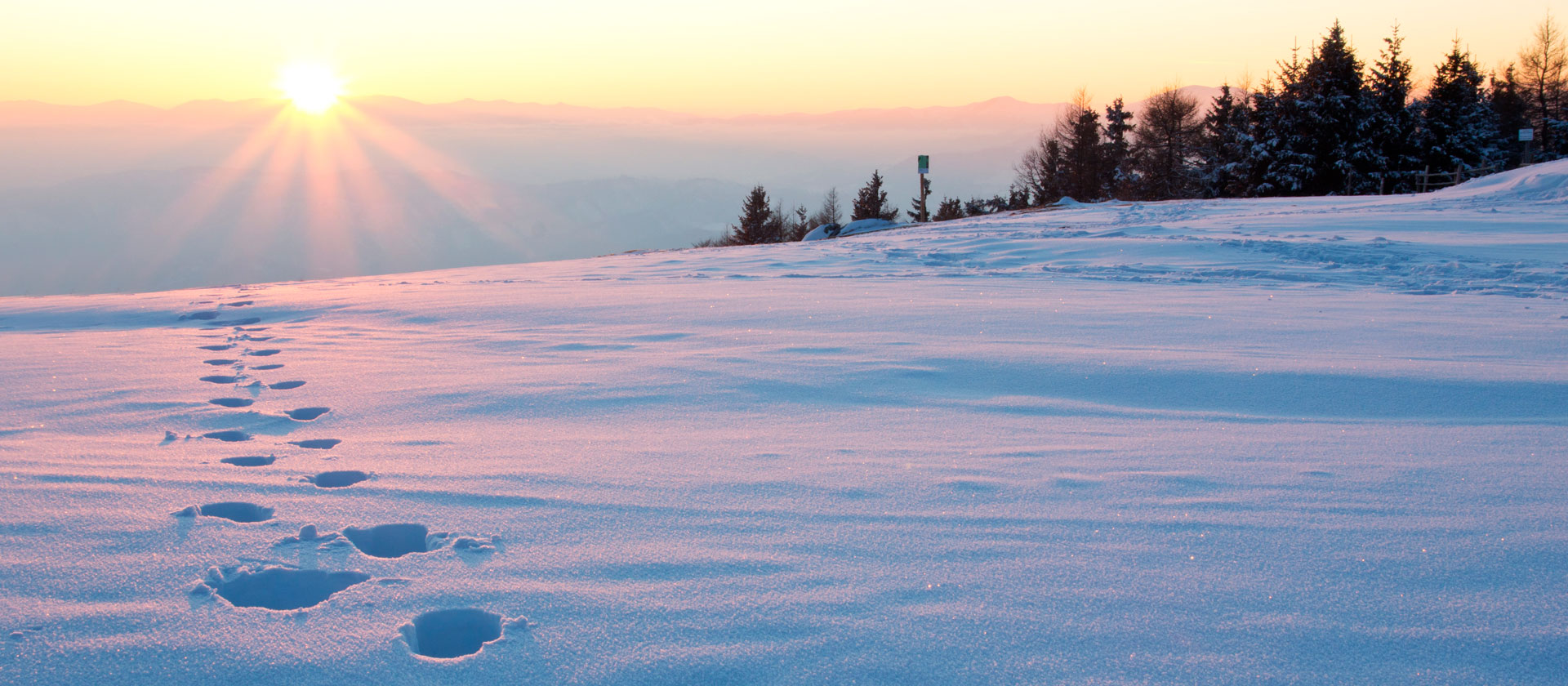 tramonto sulle ciaspole